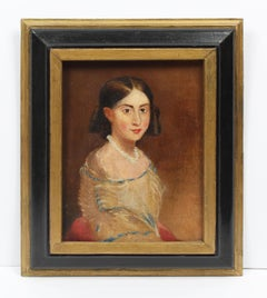 Antique American School Portrait of a Young Woman Orignal Oil Painting