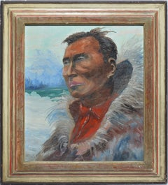 Antique American School Portrait of an Alaskan Native Signed Oil Painting