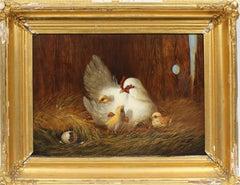 Antique American School Realist 19th Century Chicken Barn Animal Oil Painting