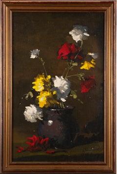 Antique American School Realist Flower Still Life Original Framed Oil Painting