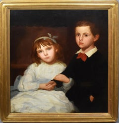 Antique American School Sibling Portrait Classic Americana Folk Art Oil Painting