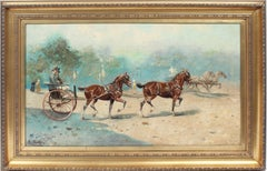 Antique American School Signed Horse & Cart Impressionist Landscape Oil Painting