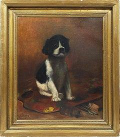 Antique American School Signed Impressionist Dog Portrait Original Oil Painting