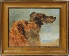 Antique American School Signed Original Animal Dog Portrait Rare Oil Painting