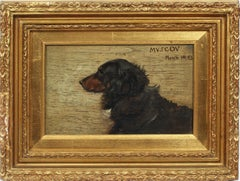 Antique American School Signed Original Dog Dachshund Portrait Oil Painting