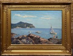 Antique American School Summer Impressionist New England Sailing off the Coast