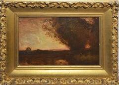 Antique American School Sunset Landscape, Tonalist Monogramed Oil Painting