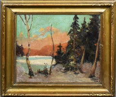 Antique American School Sunset Winter Snow Landscape Signed Framed Oil Painting