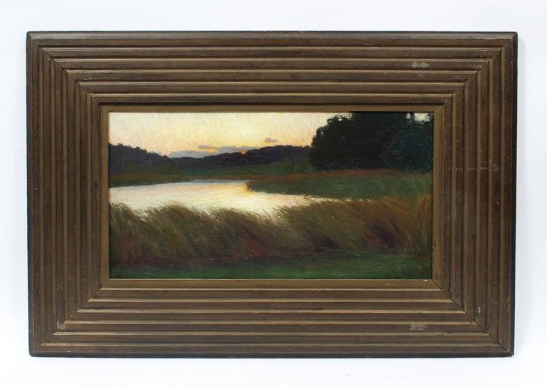 Antique American School Tonalist Sunset River Landscape Original Oil Painting - Black Landscape Painting by Unknown