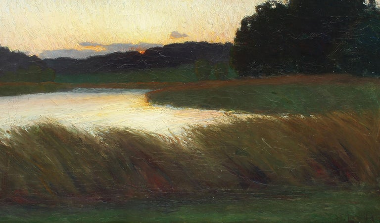 Antique American School Tonalist Sunset River Landscape Original Oil Painting 1