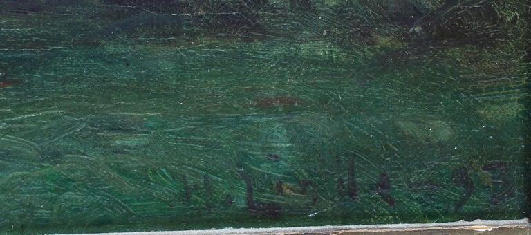 Antique American School Tonalist Sunset River Landscape Original Oil Painting 2