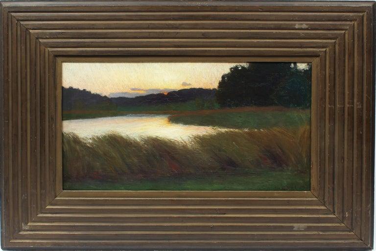 Unknown Landscape Painting - Antique American School Tonalist Sunset River Landscape Original Oil Painting