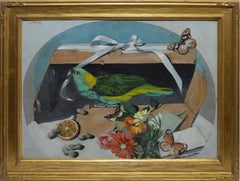 Antique American School Trompe L'Oeil Parrot & Butterfly Still Life Oil Painting