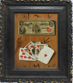 Antique American School Trompe L'Oeil Playing Card Still Life Oil Painting