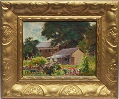 Antique American School View of a Flower Garden, 19th Century Oil Painting