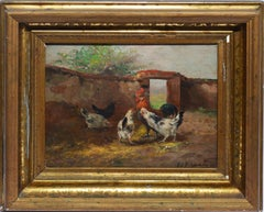 Antique American School View of a Roosters, 19th Century Signed Oil Painting