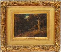 Antique American School Western Forest Interior Sunset Landscape Oil Painting