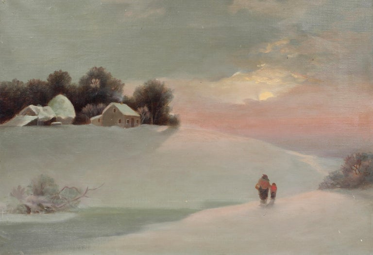 Antique American Snowscape Sunset Mother Child Oil Painting Rare Framed 19th C - Brown Figurative Painting by Unknown