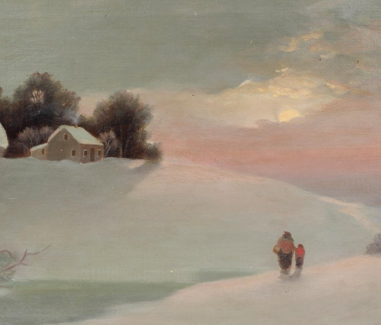 A beautiful antique American oil painting depicting a snowy sunset scene and a Mother and her young child returning home.   This charming painting comes housed in a contemporary gold frame presentation added to mimic the look and feel of period