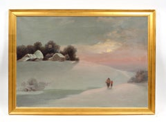 Antique American Snowscape Sunset Mother Child Oil Painting Rare Framed 19th C