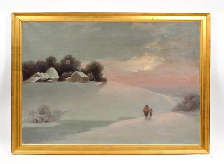 Unknown Figurative Painting - Antique American Snowscape Sunset Mother Child Oil Painting Rare Framed 19th C
