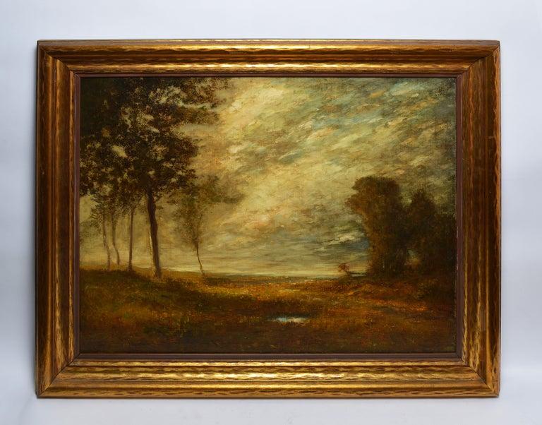 Antique American Tonalist Barbizon Landscape Oil Painting,