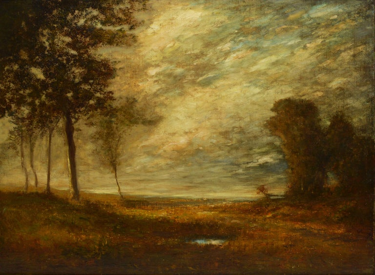 Antique American school tonalist landscape painting.  Oil on canvas, circa 1880.  Unsigned.  Displayed in a period impressionist frame.  Image size, 30