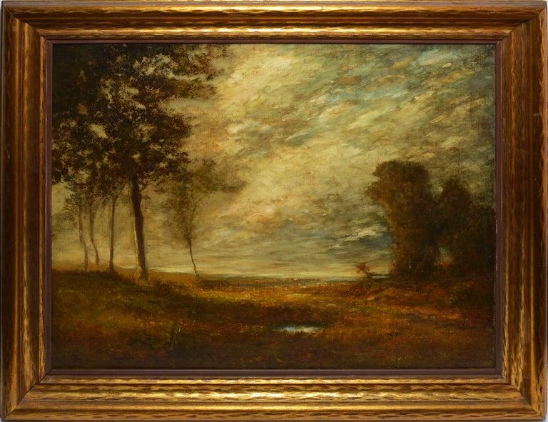 """Unknown Landscape Painting - Antique American Tonalist Barbizon Landscape Oil Painting, """"The Hidden Pond"""""""
