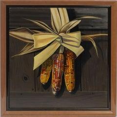 Antique American Trompe L'Oeil Corn Still Life Original Realist Oil Painting