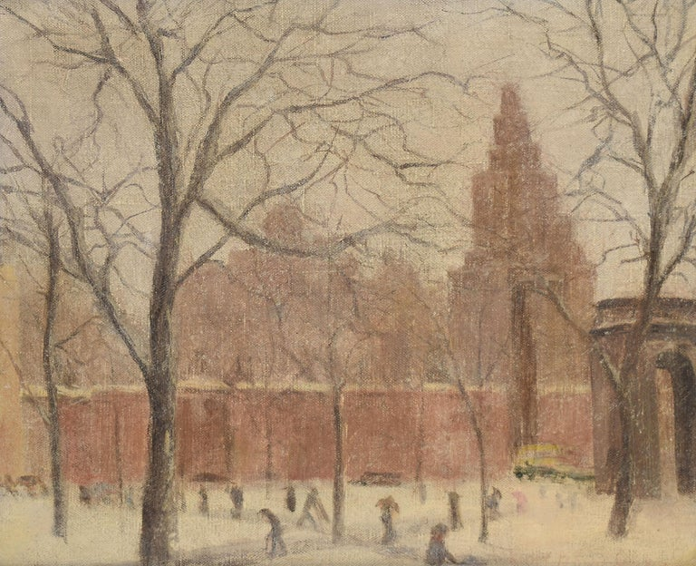 Antique American Winter Impressionist Ashcan Cityscape of Washington Square Park - Brown Landscape Painting by Unknown
