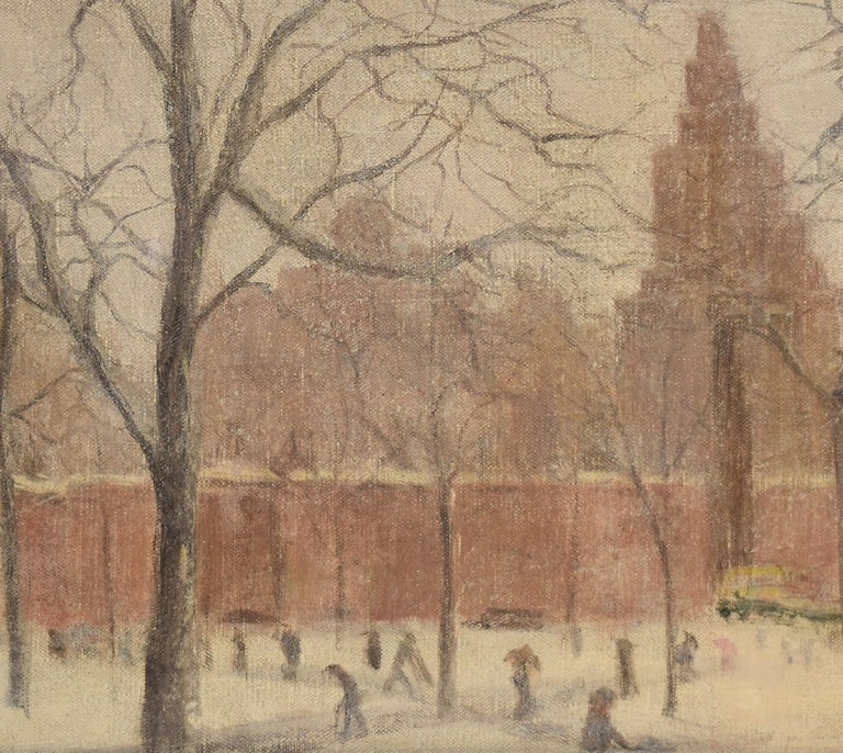 Impressionist winter cityscape painting of New York City's Washington Square Park.  Oil on canvas, circa 1910.  Displayed in a period impressionist frame.  Image size, 14