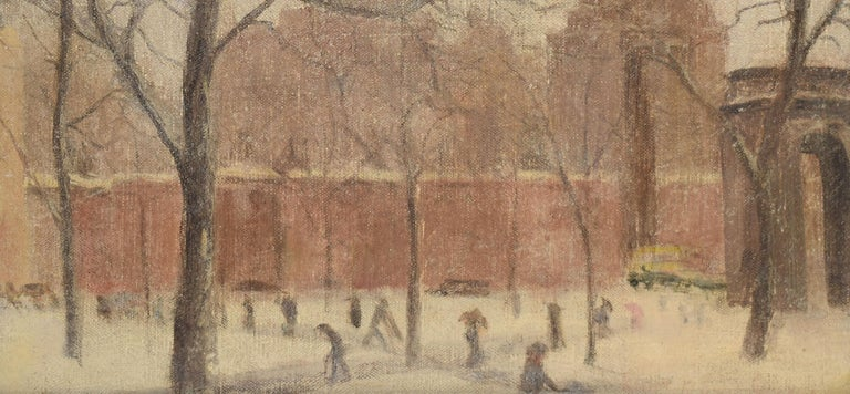 Antique American Winter Impressionist Ashcan Cityscape of Washington Square Park For Sale 1