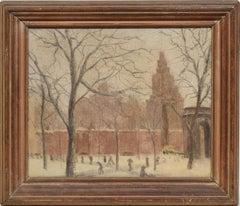 Antique American Winter Impressionist Ashcan Cityscape of Washington Square Park