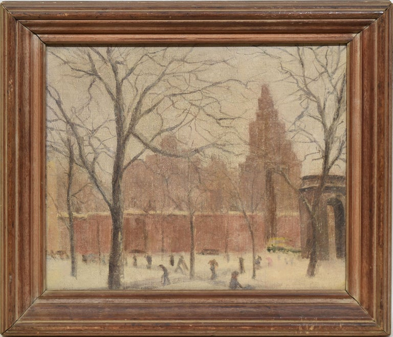 Unknown Landscape Painting - Antique American Winter Impressionist Ashcan Cityscape of Washington Square Park