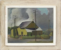 Antique American WPA Ashcan School Modernist Cityscape Regional NY Oil Painting