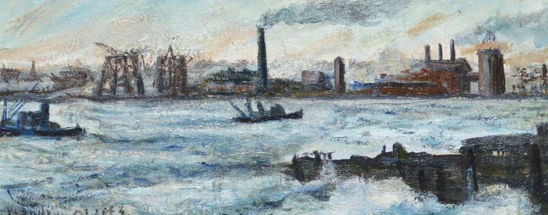 Antique Ashcan School Modernist Oil Painting of an Industrial Harbor in Winter For Sale 1