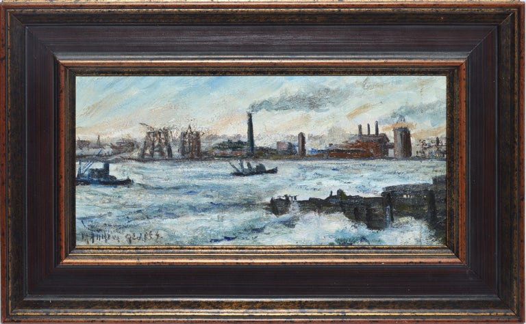 Unknown Landscape Painting - Antique Ashcan School Modernist Oil Painting of an Industrial Harbor in Winter