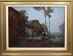 Antique Barbizon School Moonlit Sheepherding Landscape Signed Large Oil Painting