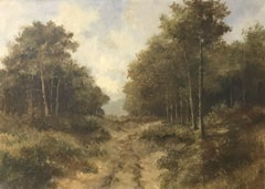 ANTIQUE BRITISH OIL PAINTING - RURAL COUNTRY LANE LANDSCAPE - SIGNED