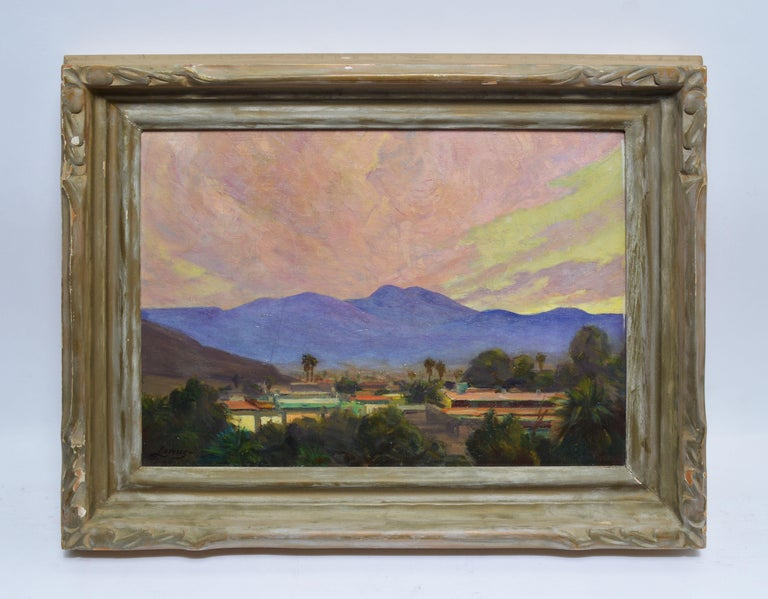 Antique California Desert Valley Sunset Oil Painting by Axel Linus - Gray Landscape Painting by Unknown
