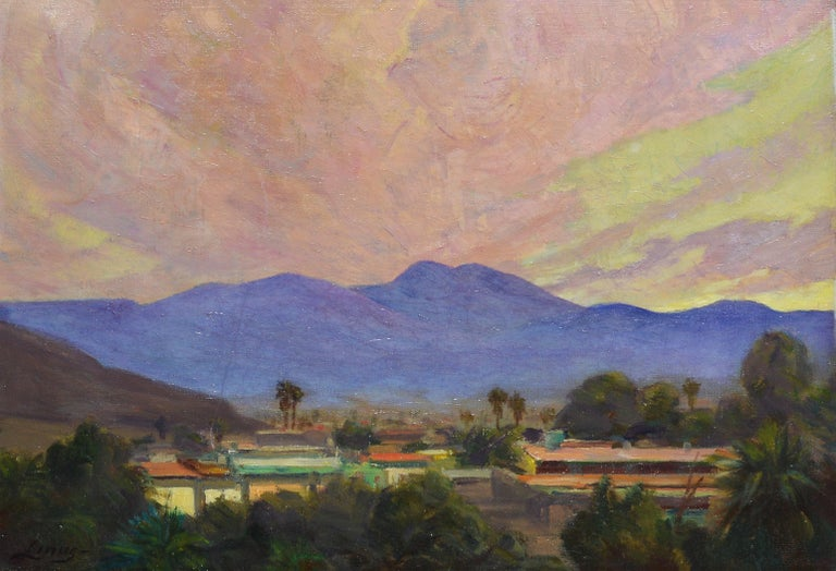 Antique impressionist oil painting of a California sunset by Axel Linus  (1885 - 1980).  Oil on canvas, circa 1940. Signed.  Displayed in a period giltwood frame.  Image, 16