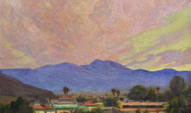 Antique California Desert Valley Sunset Oil Painting by Axel Linus For Sale 1