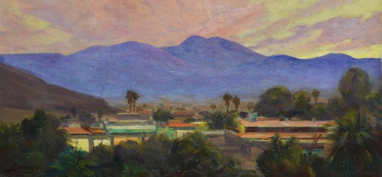 Antique California Desert Valley Sunset Oil Painting by Axel Linus For Sale 2