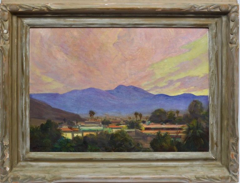 Unknown Landscape Painting - Antique California Desert Valley Sunset Oil Painting by Axel Linus