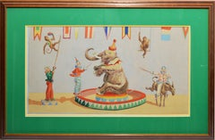 Antique Circus Painting with Elephants and Monkeys