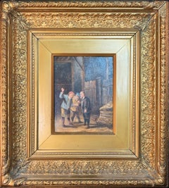 Antique Continental Figural Interior-scape Oil Painting