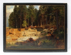 Antique Continental School Forest Clearing Lumberjack Landscape Oil Painting
