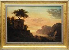 Antique Continental School Luminous Sunset Coastal Landscape Original Painting