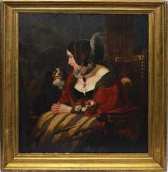 Antique Continental School Oil Painting, Old Master Portrait of a Woman and Dogs