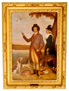 Antique Country House Georgian Hunting Portrait Oil on Canvas Painting 1750